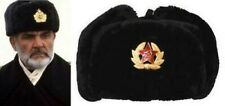 USHANKA  RED OCTOBER RUSSIAN STYLE MILITARY WINTER HAT WITH BADGE & EAR FLAPS