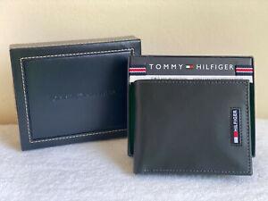 TOMMY HILFIGER BLACK RFID PROTECTION EXTRA CAPACITY SLIMFOLD BIFOLD VALET WALLET
