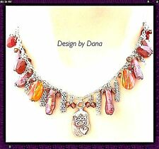 Bronze-Semi Precious-Swarovski-Chain Fringe-925-Heart Dog-Tag-Adjust.-Necklace