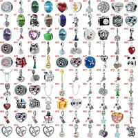 European Silver Crystal Heart Charms Beads CZ Pendant Fit 925 Sterling Bracelet
