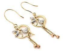 "Italian 14K Tri-Color Gold Fairy Drop Down Dangling Earrings 1.8""  2.9 grams"