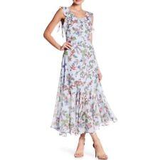 Nanette Lepore Hummingbird Paradise Dreaming Whirlpool Ruffle Maxi Dress Size 6