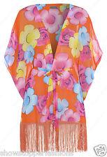 NEW Womens Kimono Tassel Floral Print Fringed kimono Size 10 12 14 16 Chiffon
