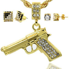 Mens 16K Gold Plated Gun Pendant Rope Chain Cube Earring CZ Earrings 3Sets