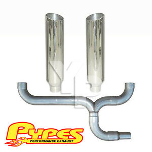 "Chevy 6.5L C2500 3500 Diesel Polished Dual 8"" Pypes Slant Stacks Exhaust Kit"