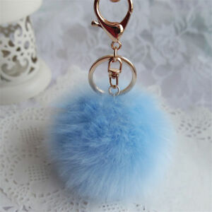 Women Pompom Keyring Rabbit Fur Fluffy Pearl HandBag Pendant Ball Keychain Trend