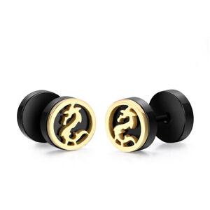 TT Dragon Black Surgical Steel Round Fake Ear Plug Earrings (BE259) NEW