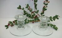 Pair Fostoria American Glass Candle Holders