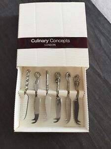 **BNIB CULINARY CONCEPTS LONDON MIXED SET OF SIX MINI CHEESE SILVER KNIVES**