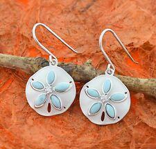 Sand Dollar Larimar Earrings-Sterling Silver- Ocean,Dangle,Satin,Beach,Cute Gift