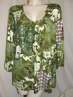 New FASHION BUG Top Women's Size 26/28W Green V-Neck 3/4 Roll Tab Sleeve Tunic