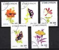 Papillons St Thomas et prince (17) série complète de 5 timbres oblitérés