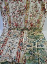 Fabric Samples 5 Asian Oriental Motiff Birds Florals Pagoda 16 x18 Pieces + NEW