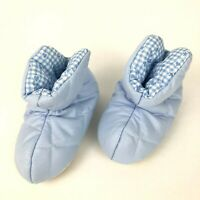Vintage Baby Slippers Air Baby Size Small Blue Cloth Rubber Soles USA