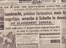 journal  l'équipe du 22/07/48 CYCLISME TOUR DE FRANCE 1948 LAPEDIE KLABINSKY