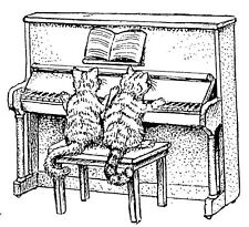 Unmounted Rubber Stamps,  Cats, Cat Stamps, Piano Cat, Humorous, Music, Animals