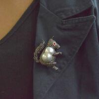Squirrel Designer Pearl Diamond Pave 14K Gold 925 Silver Brooch Pendant Jewelry