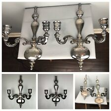 New ListingPair Large Silver Plated Metal Candle Holder Wall Sconce Candelabra Solid Heavy