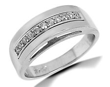 Women's 14k SOLID White Gold Dome Simulated Diamond Ring Band