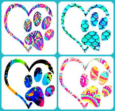 "Dog Paw Print Heart Vinyl Decal Sticker Custom Window Laptop Tumbler - 4"""