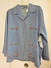 NWT VICTORIA JONES Fashion Bug Women's Size 2X Embroidered Blue Denim Jacket Top