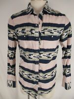 Salt Valley Western Mens Red Blue Indian Pattern Long Sleeve Cotton Shirt L