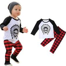 2PCS Newborn Toddler Kid Baby Boy Girl Clothes T-shirt Tops+Pants Outfits Set UK
