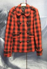 Red & Black Checked Wool Blend Coat Jacket Size 8