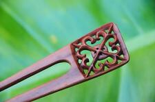 Handmade wooden HAIR JEWELRY PIN FORK PICK carved Sapodilla wood ELEGANT ornate