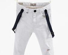 NWT ZARA Boys Skinny Off White Twill trousers w/ braces Size 9-10 Year / 55.1 in