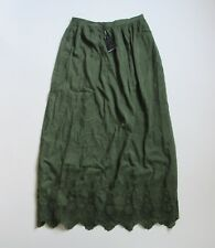 Massimo Dutti Crochet Floral Lace Hem Dark Green Maxi Skirt 8 / 40