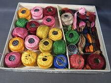 Lot anciennes bobines pelotes fil Cartier Bresson brillanté d'Alger perlé broder