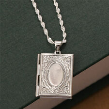 Jewelry 925 Solid Silver Photo Frame Floating Locket Book Pendant