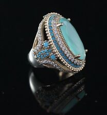 TURKISH HANDMADE TURQUOISE STERLING SILVER 925K AND BRONZE RING SIZE 6 7 8 9