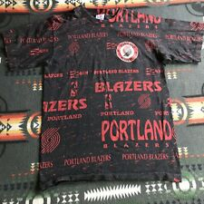 Vintage Portland Trailblazers T-shirt Black Red All Over Print Single Stitched