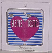 4/4S iPhone Silicone Aeropostale Besties Case Twin Pack White Blue Heart