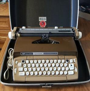 Smith Corona Coronet Automatic 12 Electric Typewriter w/ Case  Brown & Tan 1960s