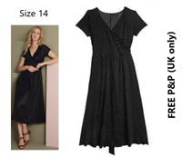 Avon Polka Dot Fit & Flare Wrap Dress Stretchy Black/White Size 14 **FREE  P&P**