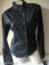 GUCCI Authentic 100% Cotton Top Button Down Shirt Blouse Black Size 42 / 6 NWT