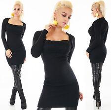 Sexy Langarm Kleid Minikleid Bolero Look mit Spitze Strass Schwarz 34 36 38 S  M