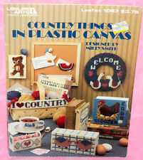Leisure Arts Country Things in Plastic Canvas Chart Leaflet Chicken Pig Goose