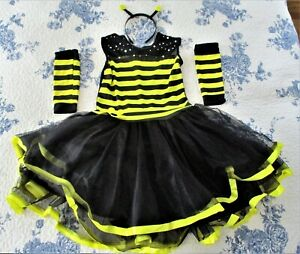 WICKED COSTUMES, GIRLS BLACK /YELLOW BUMBLEBEE (DRESS-SLEEVES-HEADBAND) S-11-12.