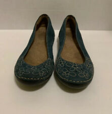 WOMENS NATURALIZER BLUE LEATHER SUEDE FLORAL CUT OUT BALLET FLATS SIZE 9M