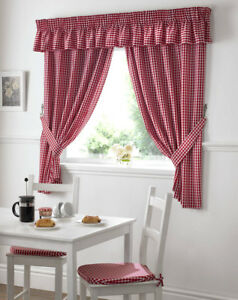 Gingham Check Kitchen Curtains, Free Tie-backs ,Pelmet & Seat Pads available