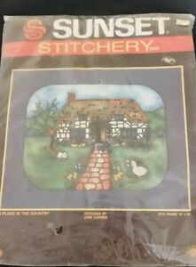 Sunset Stitchery A Place In The Country Vintage Kit Rabbit Duck Cat Cottage