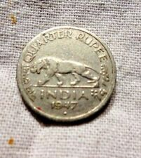 VINTAGE QUARTER RUPEE INDIA 1947 GEORGE VI KING EMPEROR COIN GENUINE COLLECTIBLE