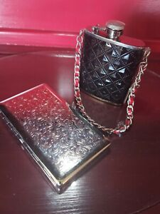 Silver Money Clip with 3 oz. Stainless Steel Black/Red Flask Set