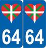 2 autocollants style immatriculation auto Département 64 Pays Basque coeur