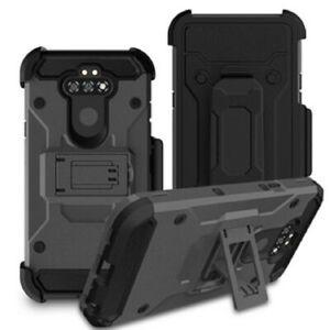 LG Fortune 3 / K8X - Heavy Duty Hybrid Holster Kickstand Case Belt Clip Cover