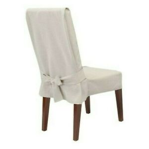 Sure Fit Farmhouse Basketweave Dining Room Chair Slipcover Ivory Relaxed Short